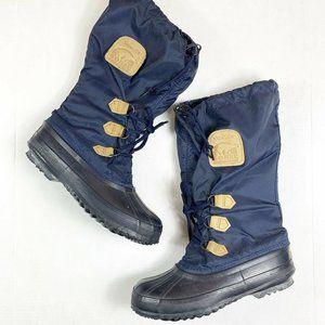 Sorel 8 Snow Boots Snowlion Felt Lined Navy Blue